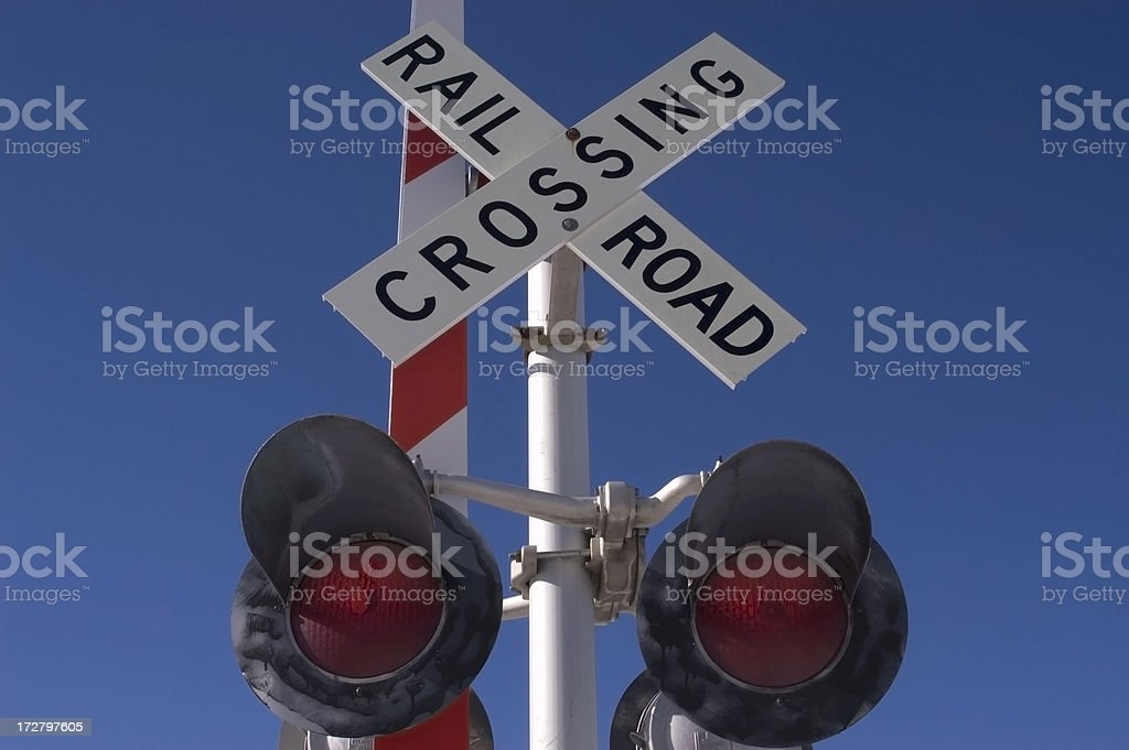 Railroad Crossing Sign and Lights royalty-free stock photo