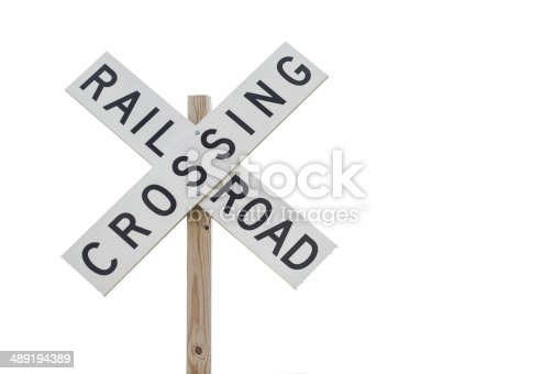 a railroad crossing sign isolated on white background.