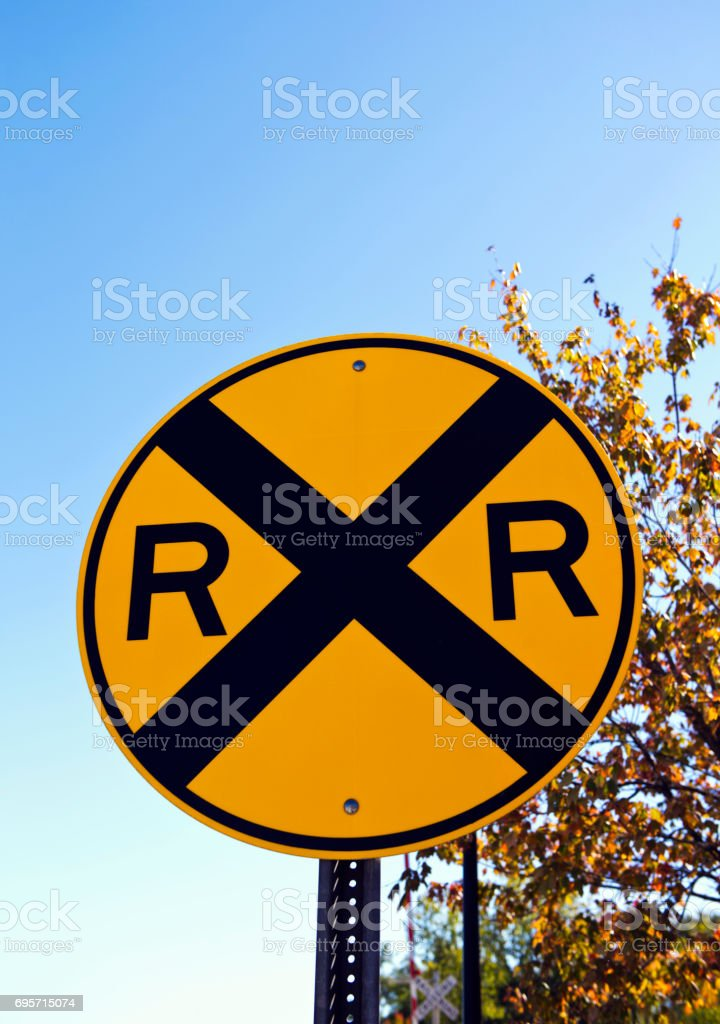 Railroad Crossing Sign stock photo