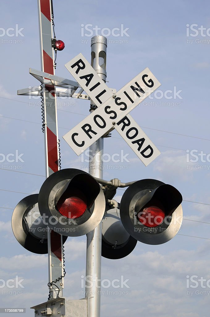 Railroad Crossing Sign With Wigwag royalty-free stock photo