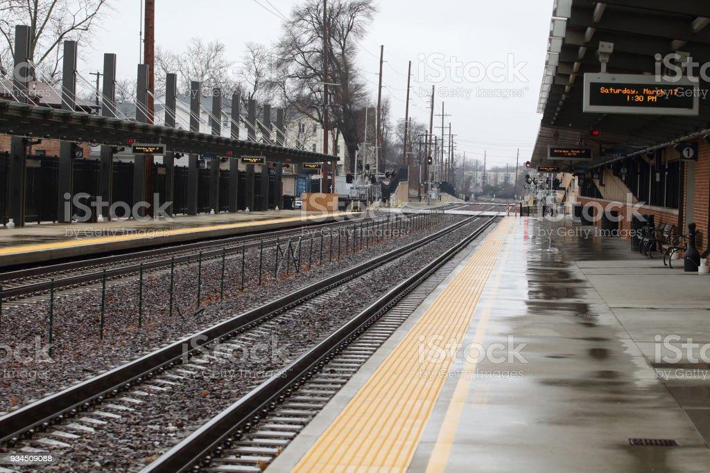 Railroad depot stock photo