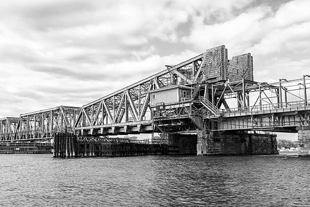 Railroad draw bridge on Connecticut river stock photo