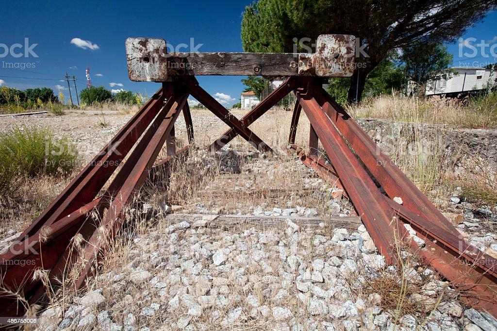 Railroad end bumper stock photo