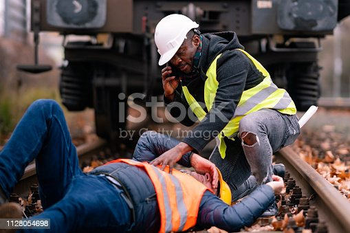 istock Railroad engineer injured in an accident at work 1128054698