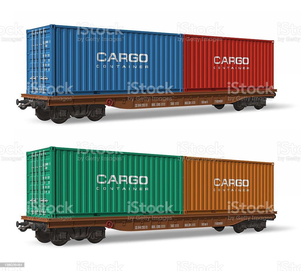 Railroad flatcars with cargo containers royalty-free stock photo