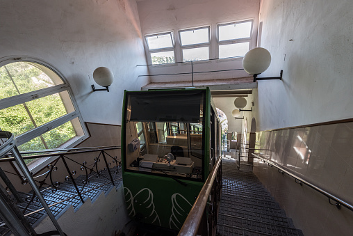 Railroad funicular at Cremallera de Montserrat station in Montserrat monastery.