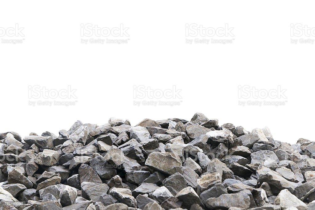 Railroad gravel over white background royalty-free stock photo