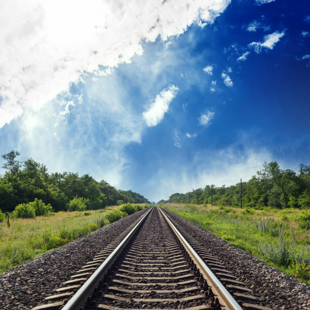 railroad in green landscape to horizon in blue cloudy sky railroad in green landscape to horizon in blue cloudy sky tramway stock pictures, royalty-free photos & images
