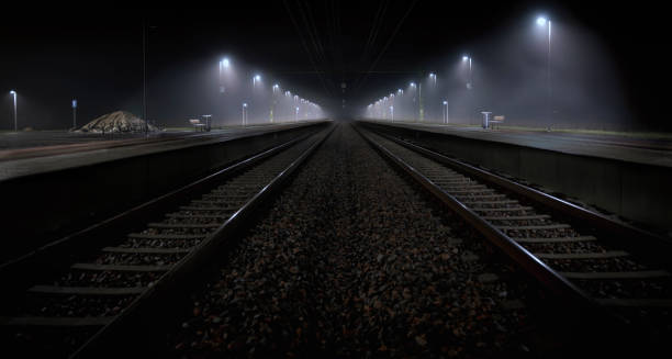 Railroad in night stock photo