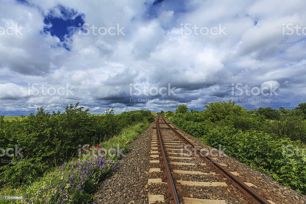 Railroad in rural area royalty-free stock photo