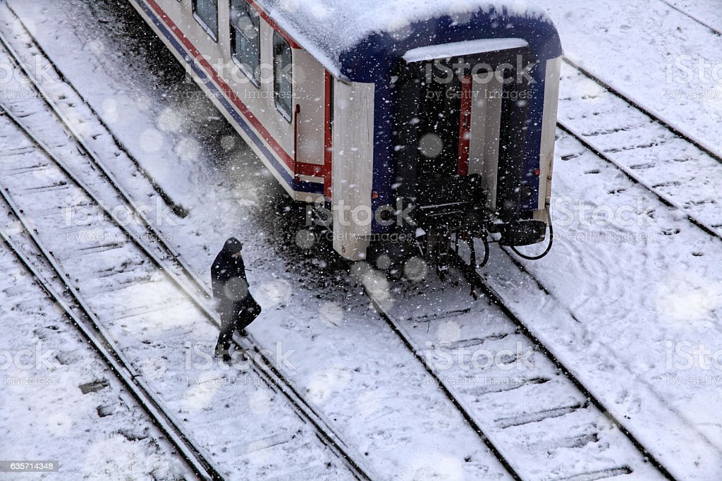 railroad in snow royalty-free stock photo