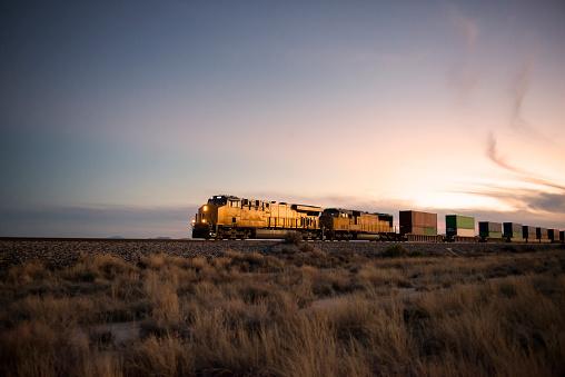 Cargo train travelling through desert.