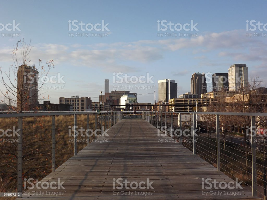 Railroad park bridge stock photo