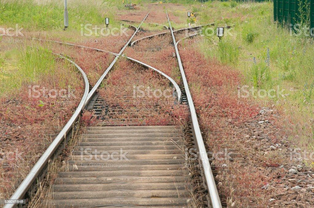 Trilho da estrada de ferro com desviador foto royalty-free