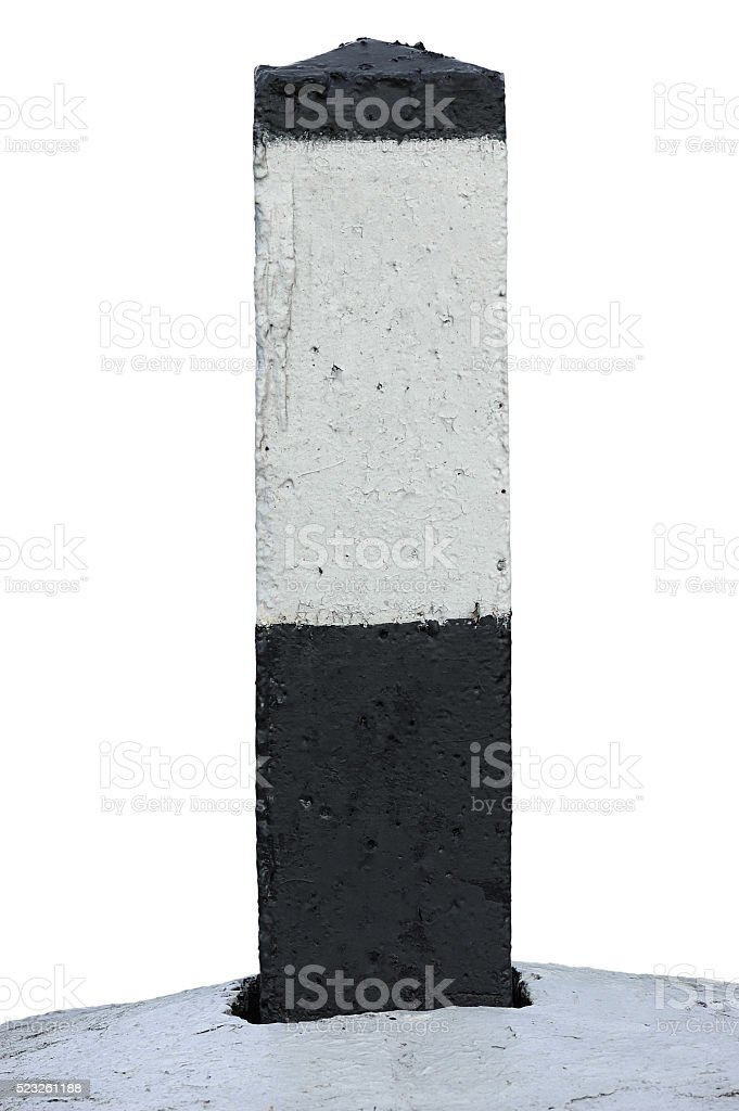 Railroad Route Rail Line Mile Marker Black White, Isolated Background stock photo