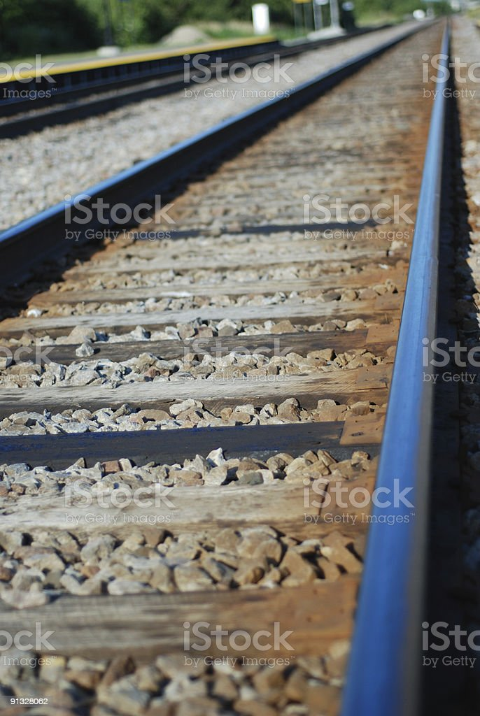 Railroad single track stock photo