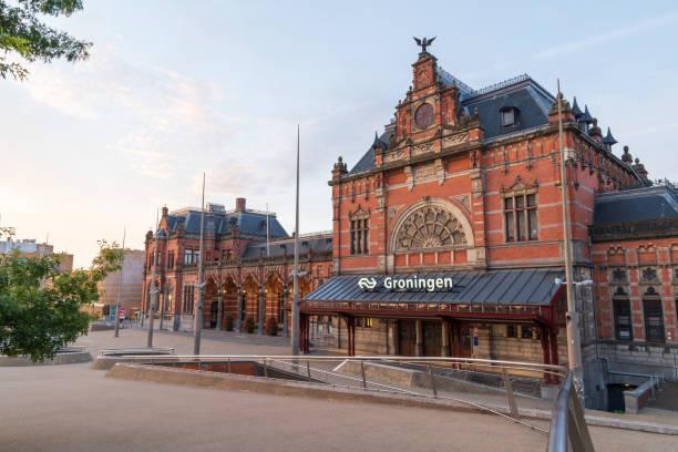 Railroad Station Groningen stock photo