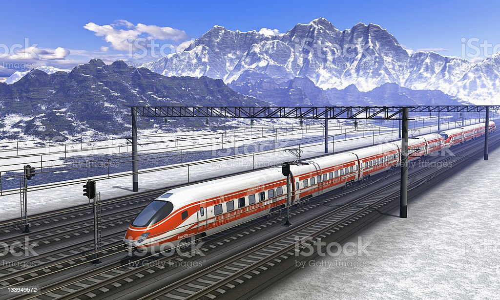 Railroad station in mountains with high speed train stock photo