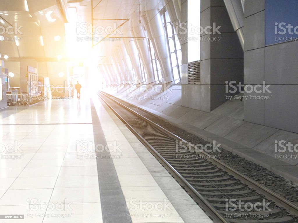 railroad station on morning royalty-free stock photo