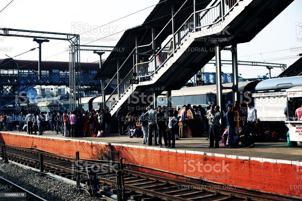 Punjab, India – October 15, 2018 - Passengers on railroad station...