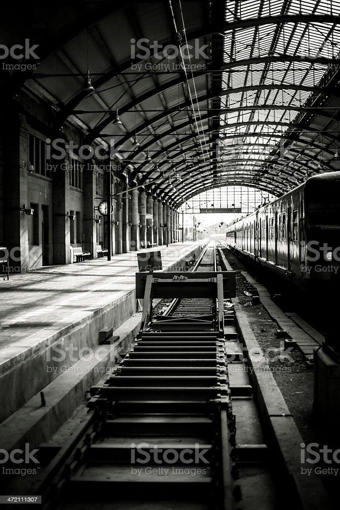 Railroad station platform, toned image - black and white