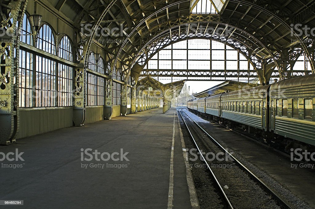 Railroad station platform royalty-free stock photo