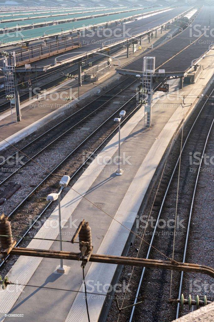 Railroad station platforms at Gare du Nord, Paris