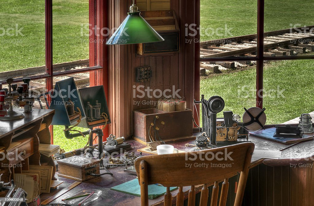 Railroad Station Radio/Telegraph Workspace stock photo