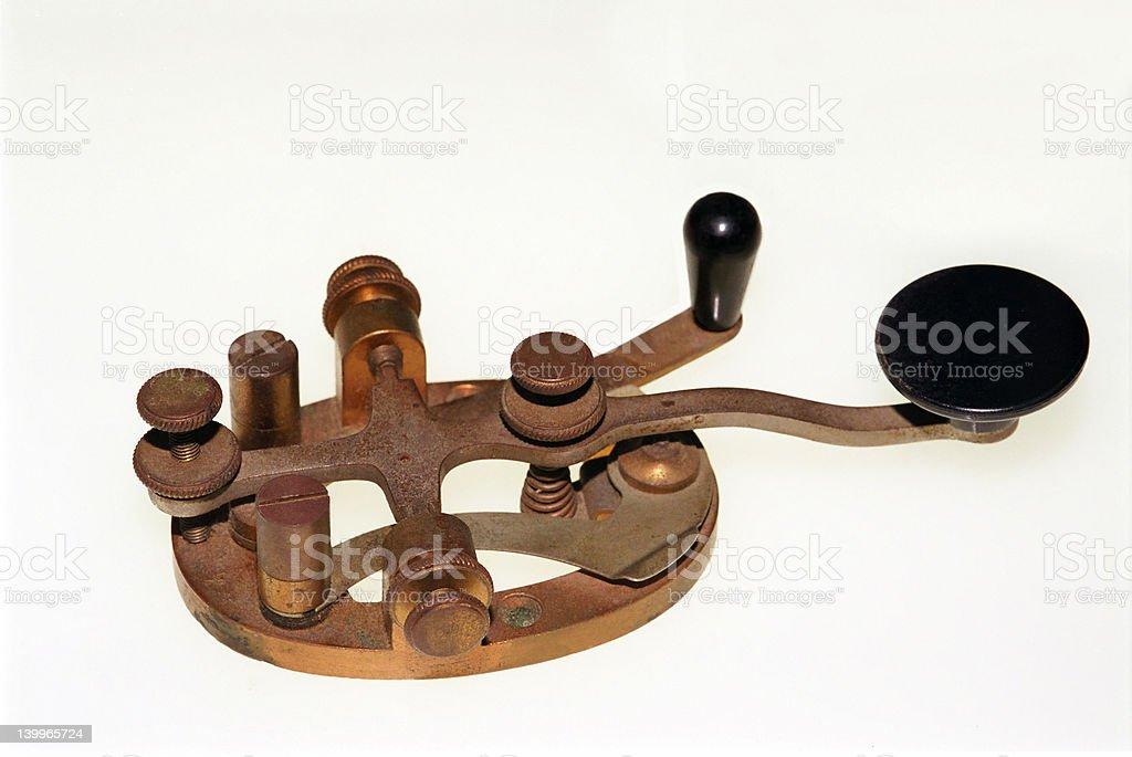 Railroad telegraph key - isolated on white stock photo