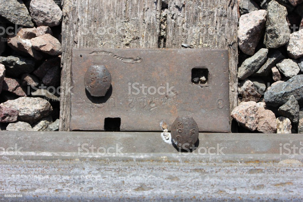 Railroad tie bracket close up stock photo