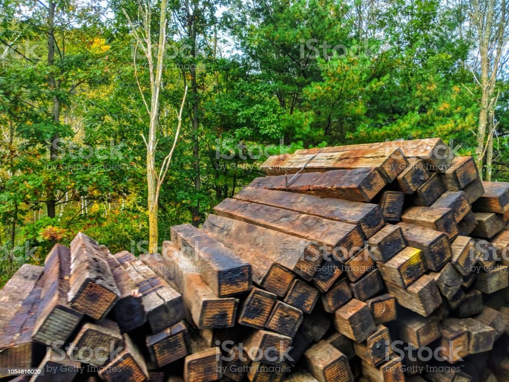 Railroad Ties On The Side Of The Tracks Stock Photo - Download Image