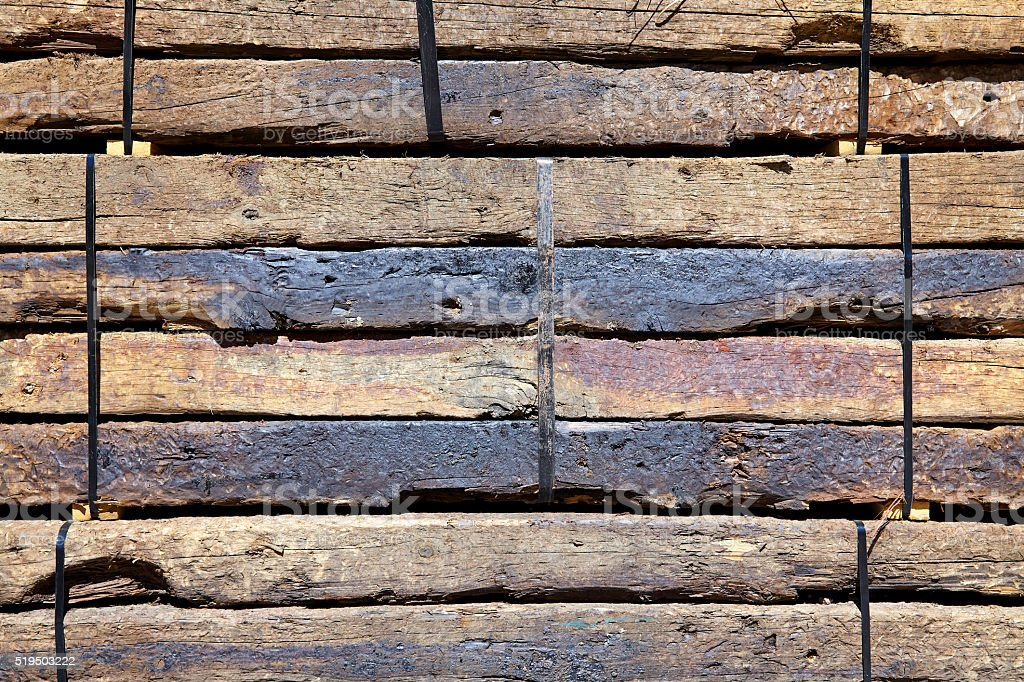 Railroad Ties Used Lumber Boards Stacked Pattern Background Stock