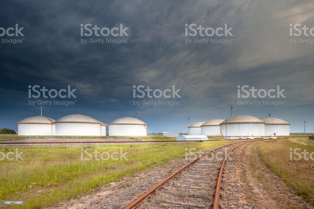 Railroad to an oil tank terminal stock photo