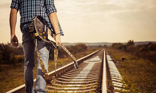 railroad to horizon stock photo