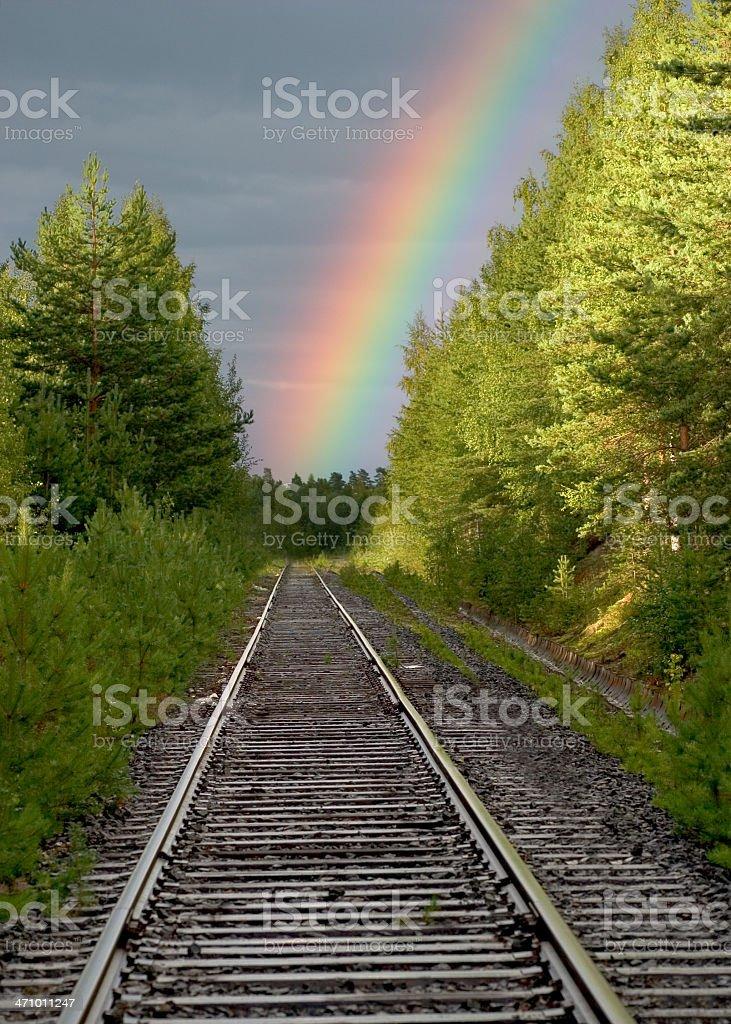 railroad to rainbow royalty-free stock photo