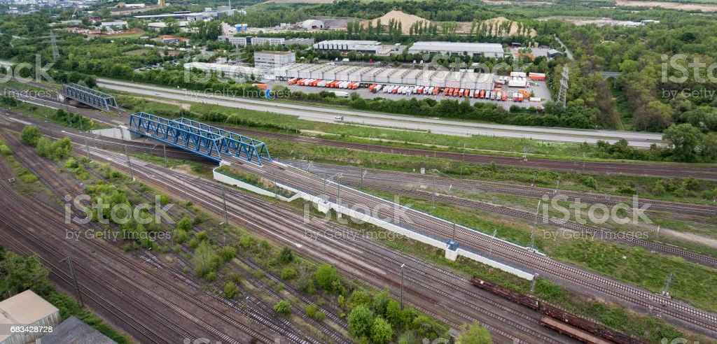 Railroad track, aerial view stock photo