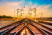 istock Railroad Track and switch 1221311412
