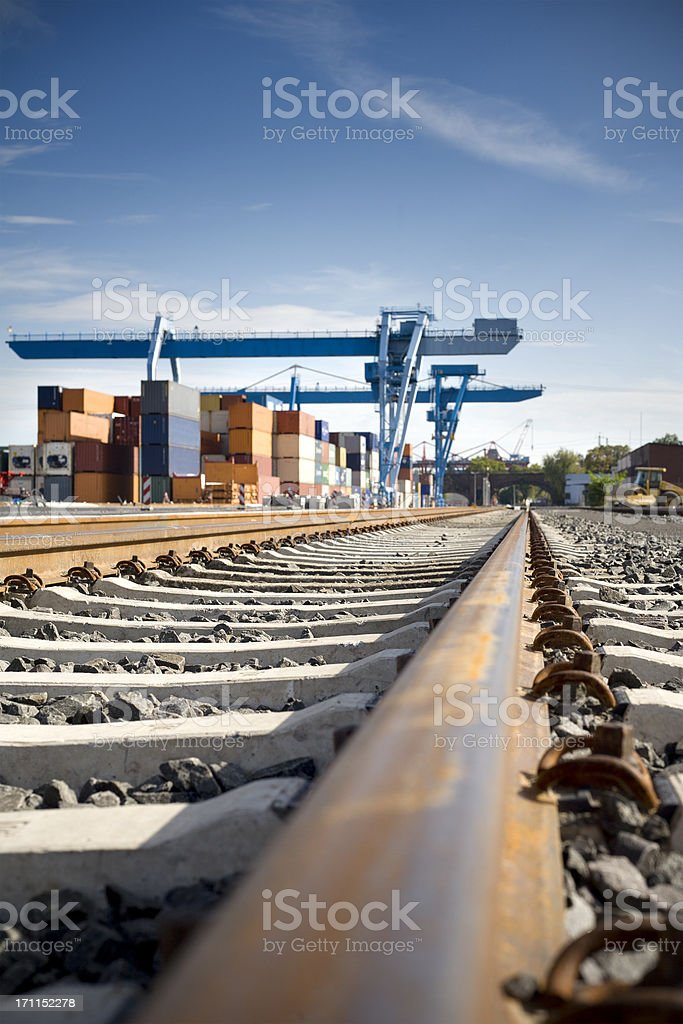 Railroad track, container terminal Mainz, selective focus royalty-free stock photo