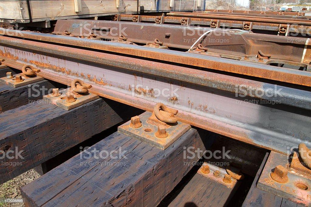 Railroad track hold down clip stock photo
