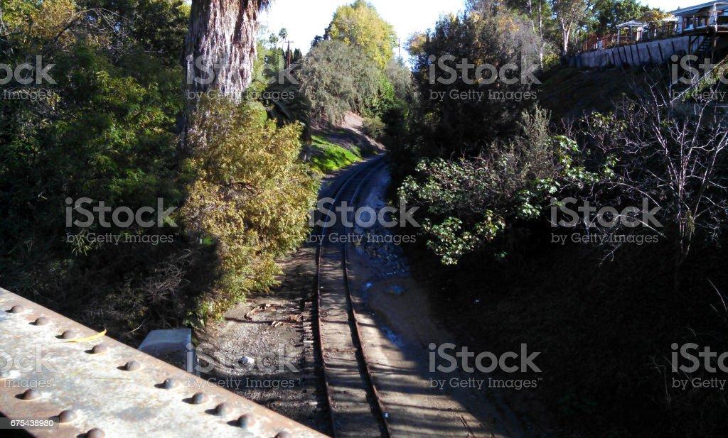 Une voie ferrée à Fullerton, Californie photo libre de droits