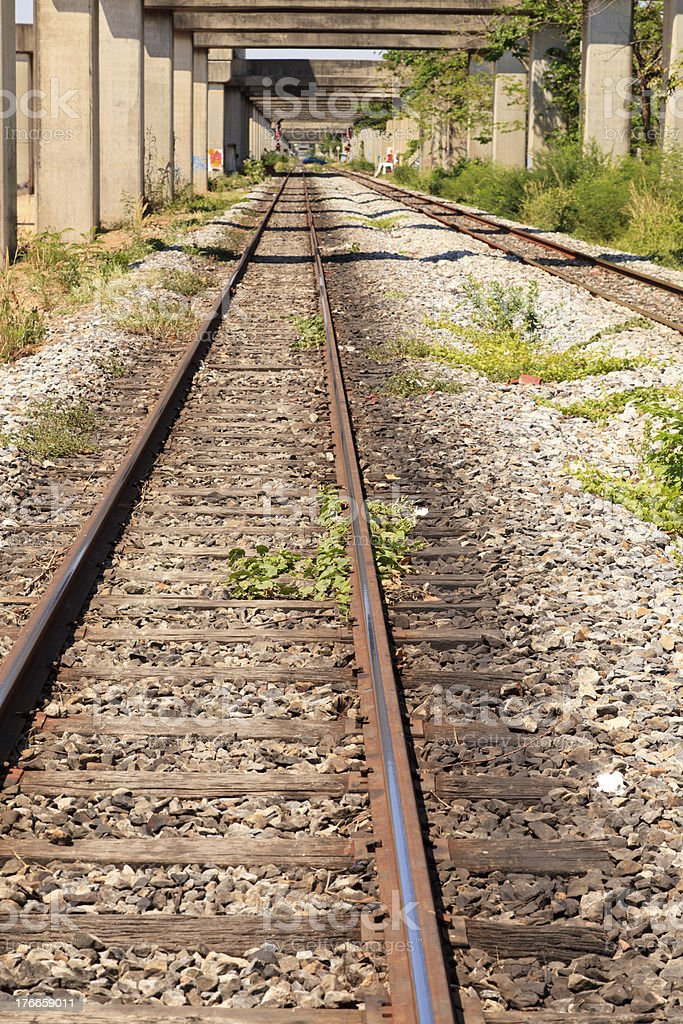 Railroad track in the city royalty-free stock photo