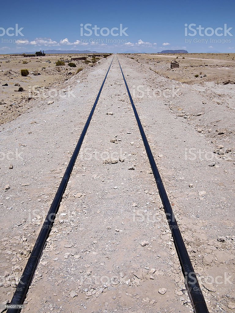 Railroad track leading nowhere royalty-free stock photo
