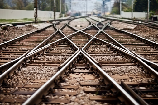 Railroad  track points background. Shallow DOF, selective focus.