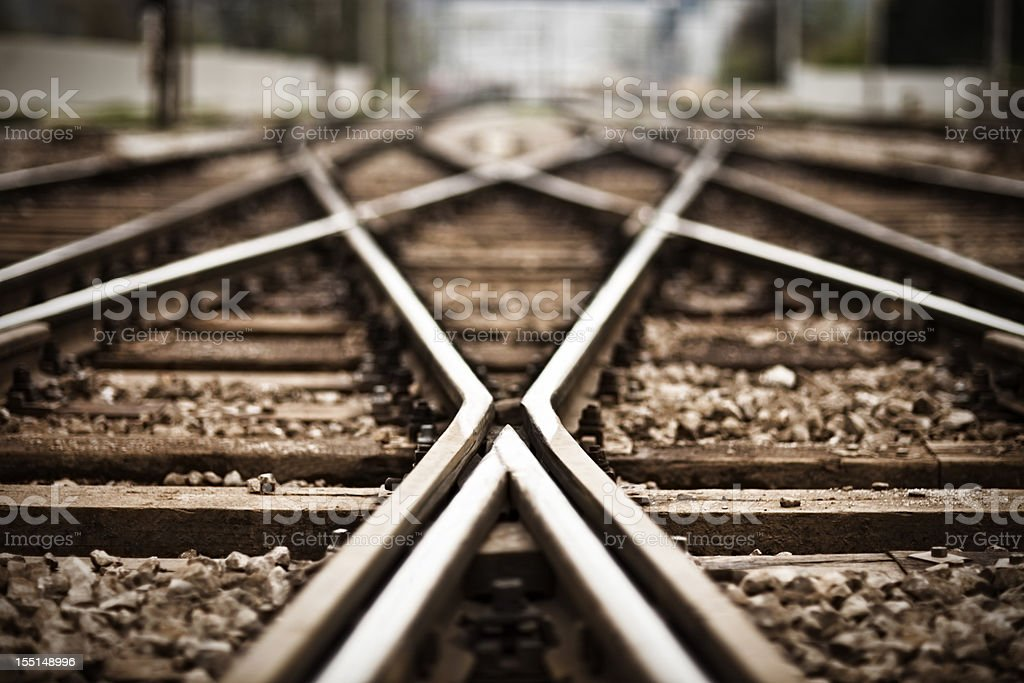 Railroad  track points stock photo