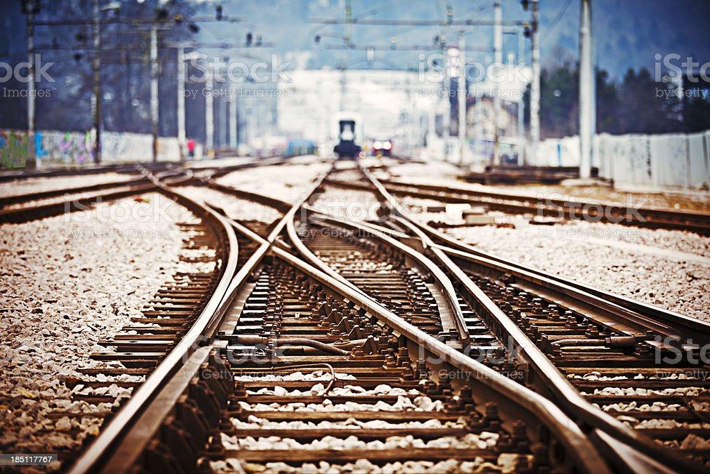 Railroad  track points stock photo