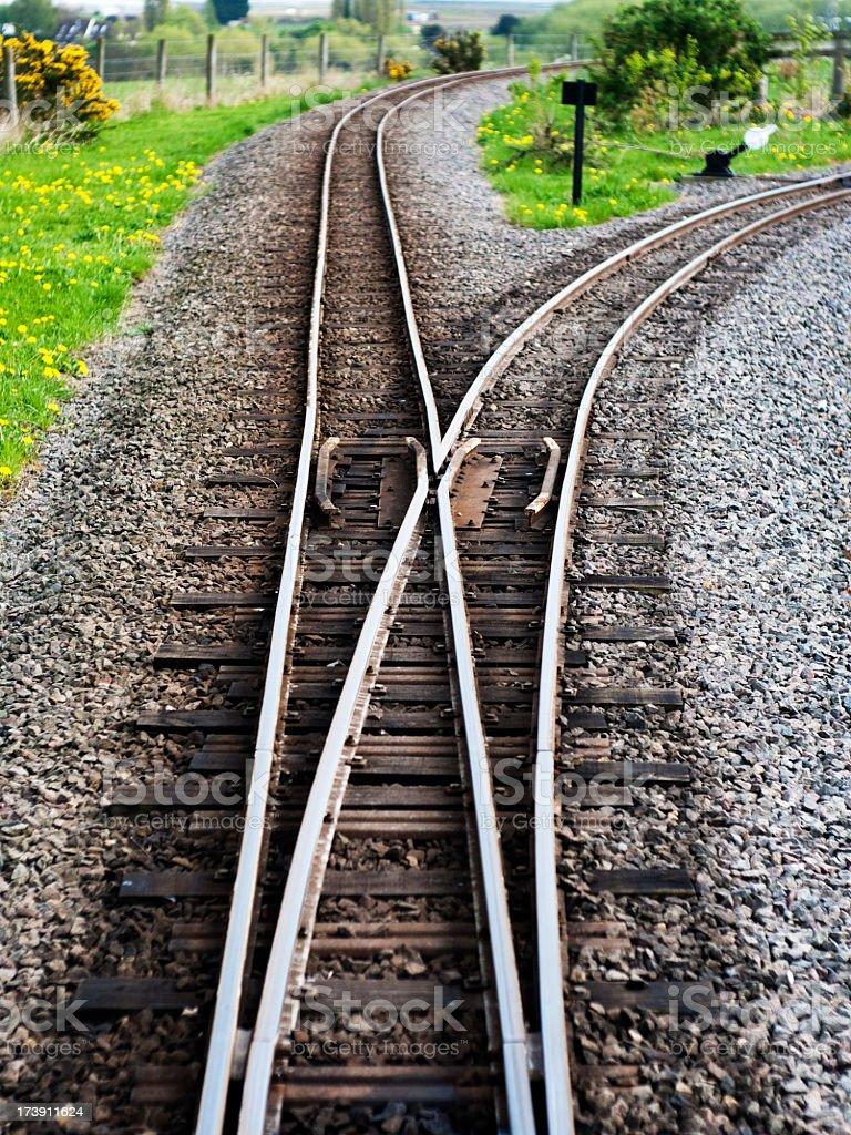 Railroad track splitting into 2 stock photo