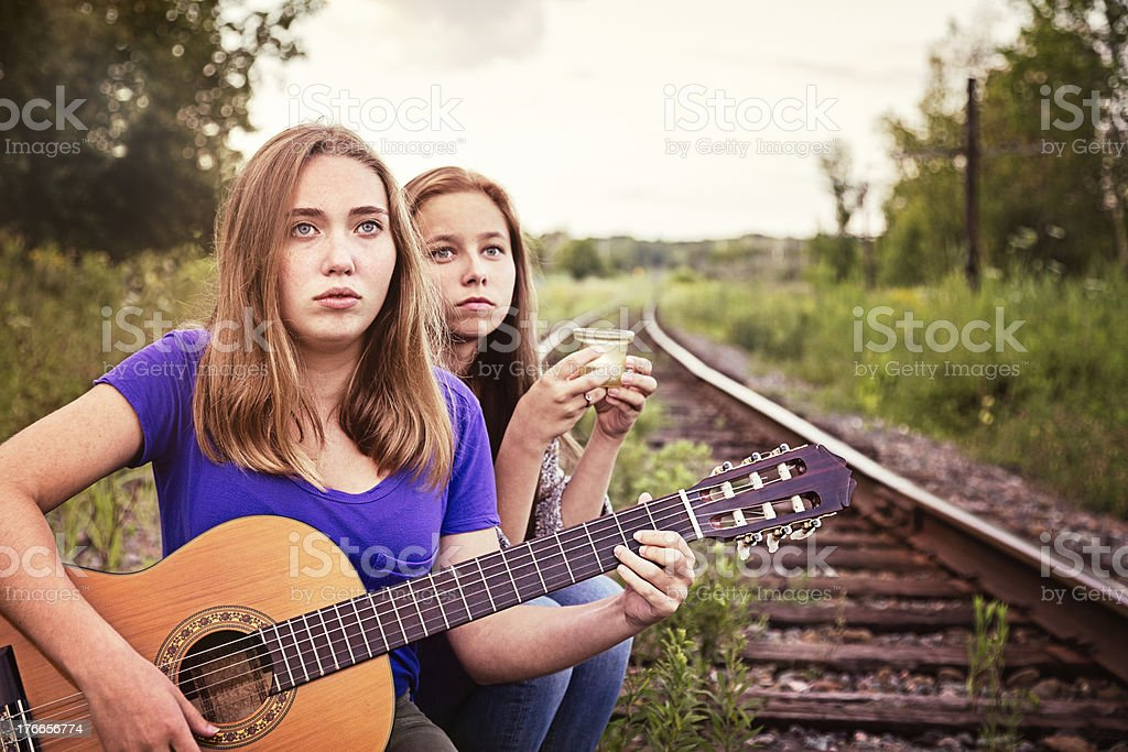 Railroad track vigil: Remembering the departed stock photo