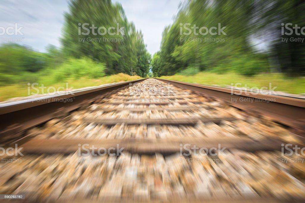 Railroad track with motion blur royaltyfri bildbanksbilder