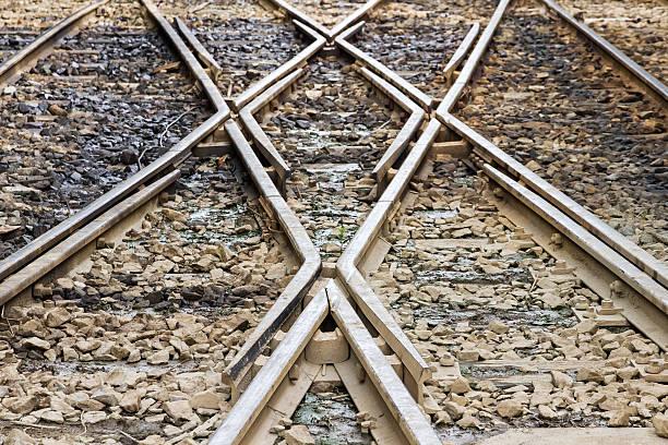 Railroad tracks at a train station.selective focus. – Foto