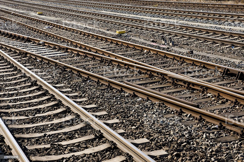 Railroad tracks background stock photo